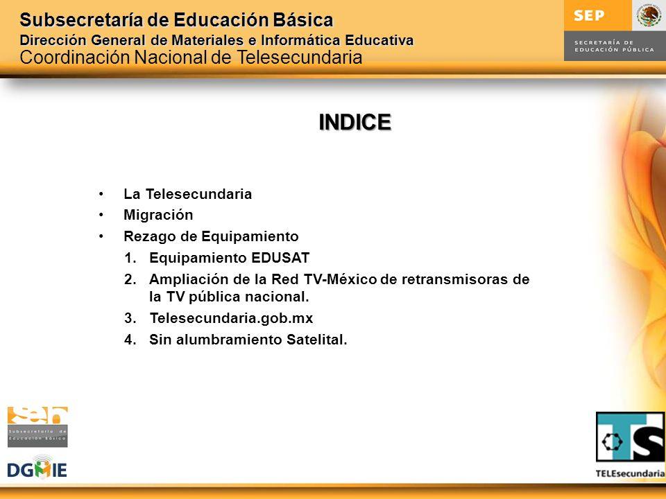 Subsecretaría de Educación Básica Dirección General de Materiales e Informática Educativa INDICE La Telesecundaria Migración Rezago de Equipamiento 1.