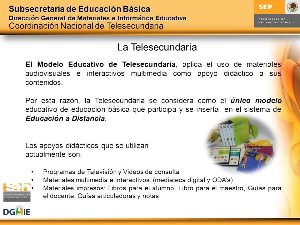 Subsecretaría de Educación Básica Dirección General de Materiales e Informática Educativa El Modelo Educativo de Telesecundaria, aplica el uso de mate