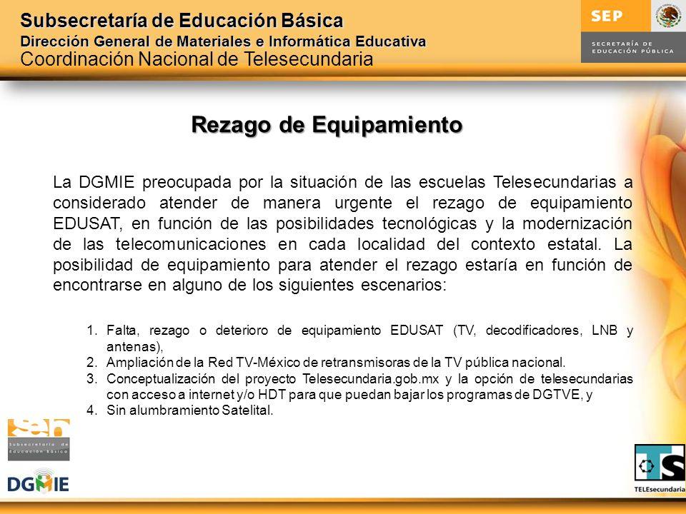 Subsecretaría de Educación Básica Dirección General de Materiales e Informática Educativa La DGMIE preocupada por la situación de las escuelas Telesec
