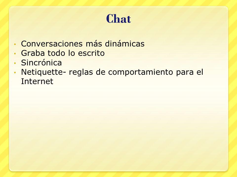 Chat Conversaciones más dinámicas Graba todo lo escrito Sincrónica Netiquette- reglas de comportamiento para el Internet