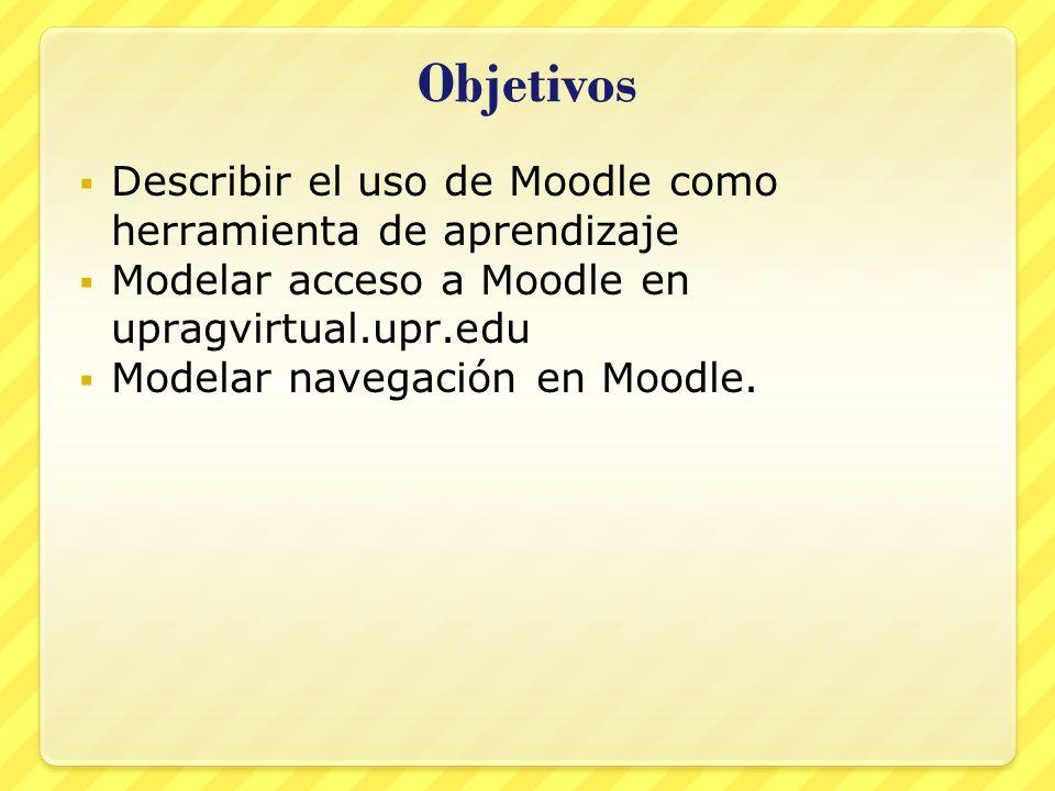 Objetivos Describir el uso de Moodle como herramienta de aprendizaje Modelar acceso a Moodle en upragvirtual.upr.edu Modelar navegación en Moodle.