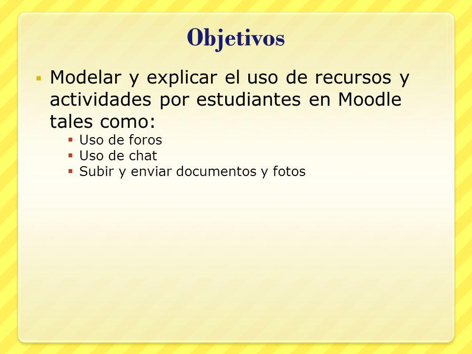Objetivos Modelar y explicar el uso de recursos y actividades por estudiantes en Moodle tales como: Uso de foros Uso de chat Subir y enviar documentos