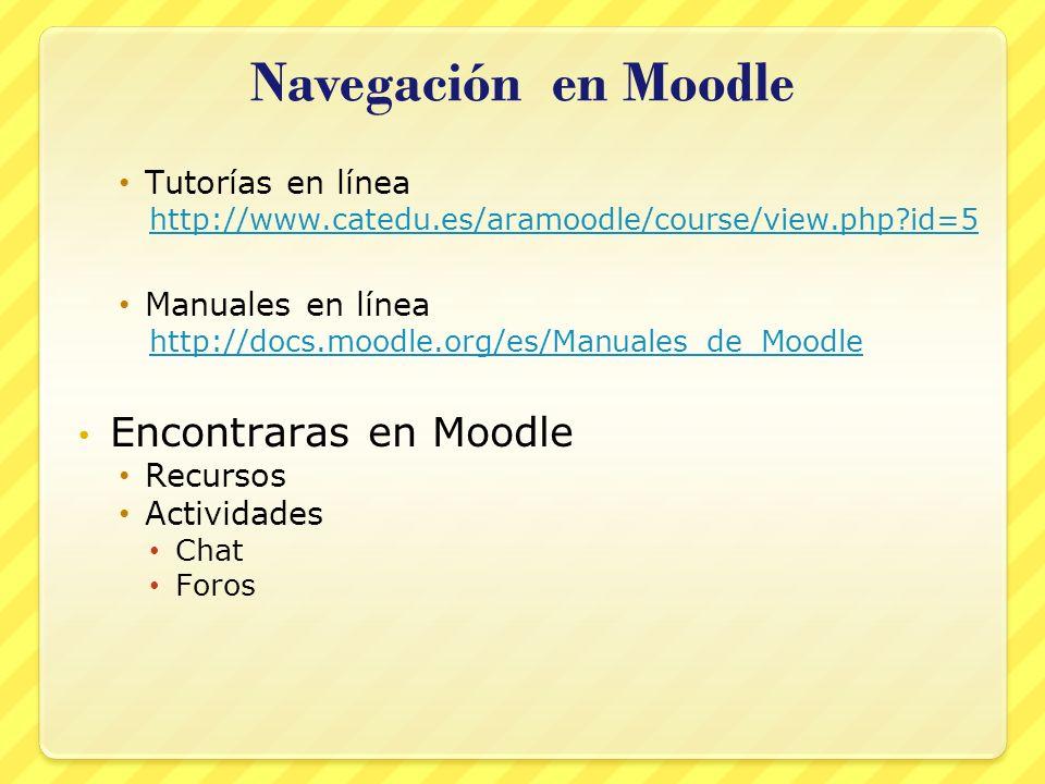 Navegación en Moodle Tutorías en línea http://www.catedu.es/aramoodle/course/view.php?id=5 Manuales en línea http://docs.moodle.org/es/Manuales_de_Moo