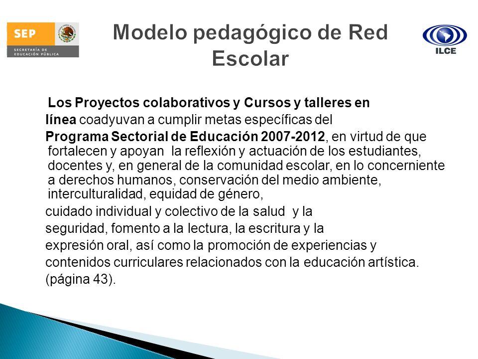 Los Proyectos colaborativos y Cursos y talleres en línea coadyuvan a cumplir metas específicas del Programa Sectorial de Educación 2007-2012, en virtu
