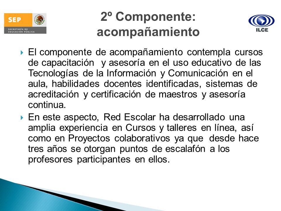 El componente de acompañamiento contempla cursos de capacitación y asesoría en el uso educativo de las Tecnologías de la Información y Comunicación en