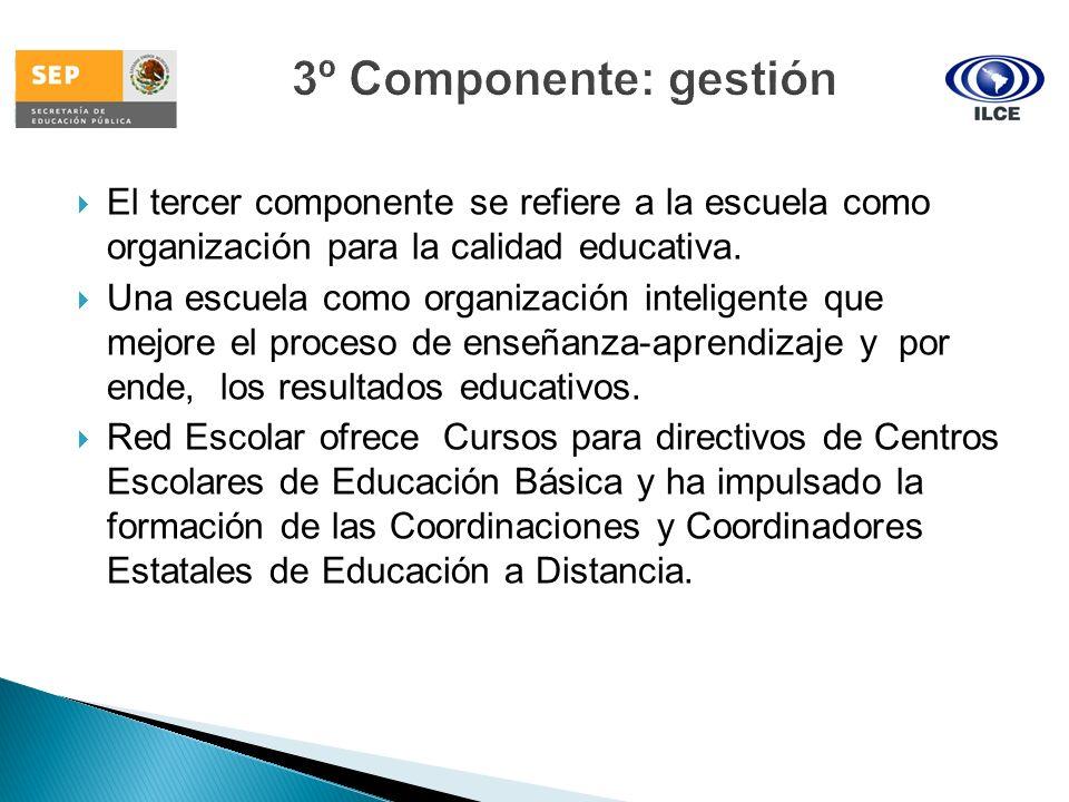 El tercer componente se refiere a la escuela como organización para la calidad educativa. Una escuela como organización inteligente que mejore el proc