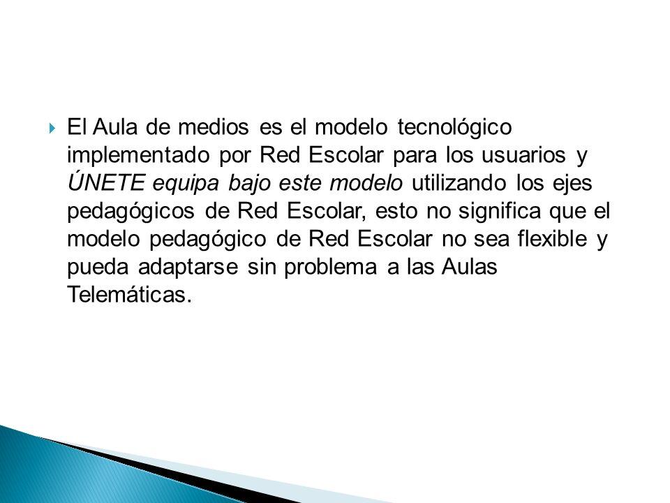 El Aula de medios es el modelo tecnológico implementado por Red Escolar para los usuarios y ÚNETE equipa bajo este modelo utilizando los ejes pedagógi