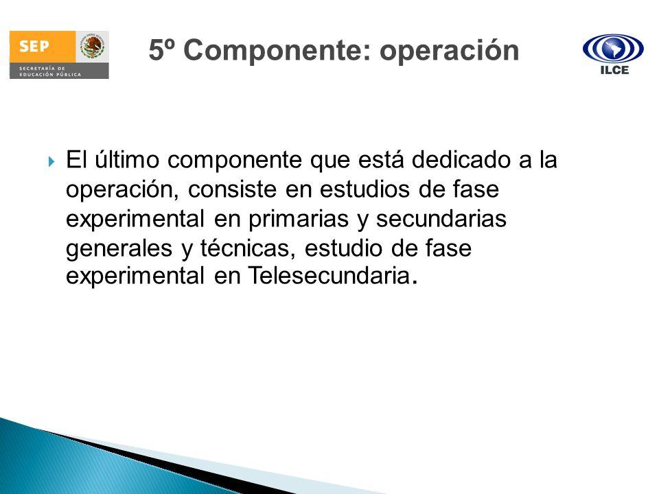 El último componente que está dedicado a la operación, consiste en estudios de fase experimental en primarias y secundarias generales y técnicas, estu