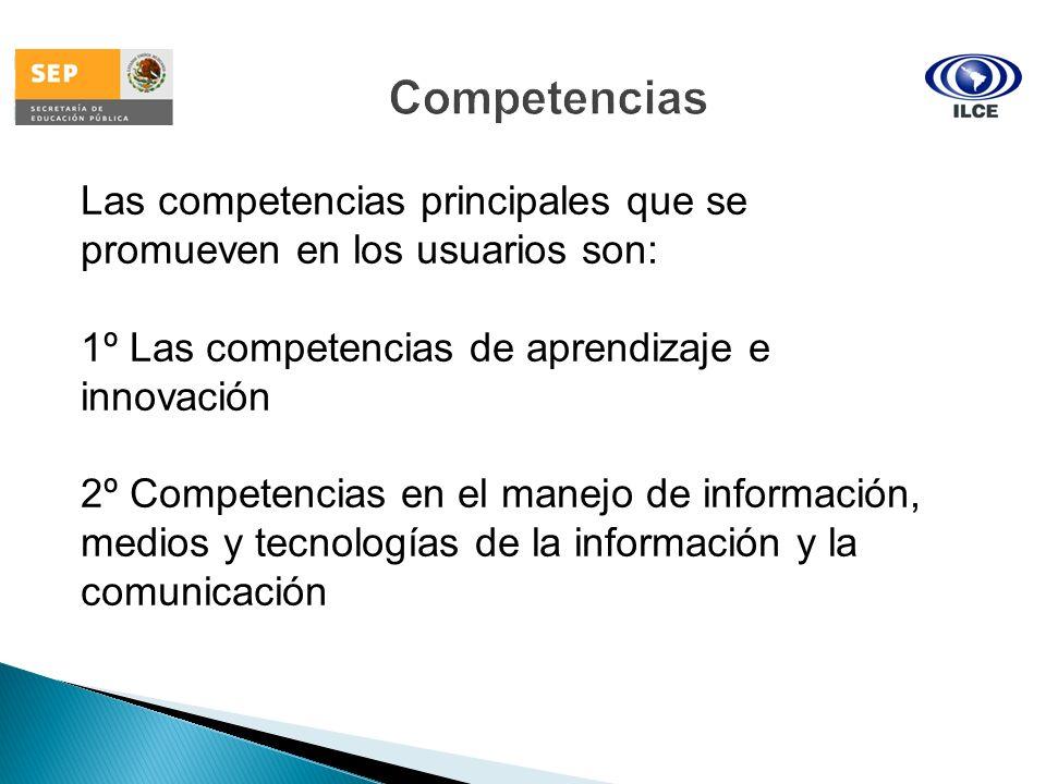 Competencias Las competencias principales que se promueven en los usuarios son: 1º Las competencias de aprendizaje e innovación 2º Competencias en el
