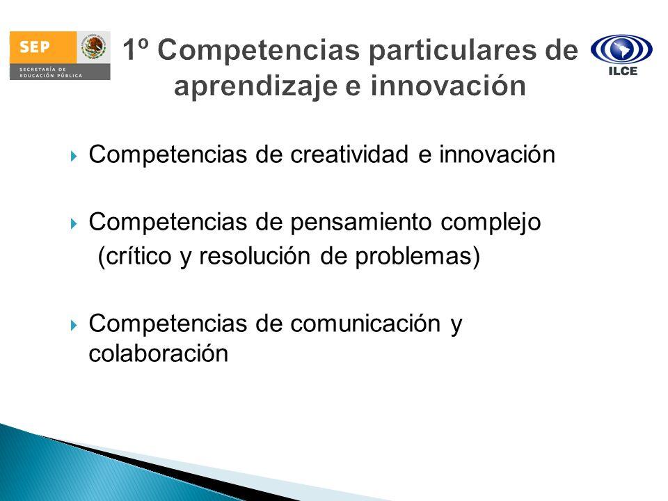 Competencias de creatividad e innovación Competencias de pensamiento complejo (crítico y resolución de problemas) Competencias de comunicación y colab