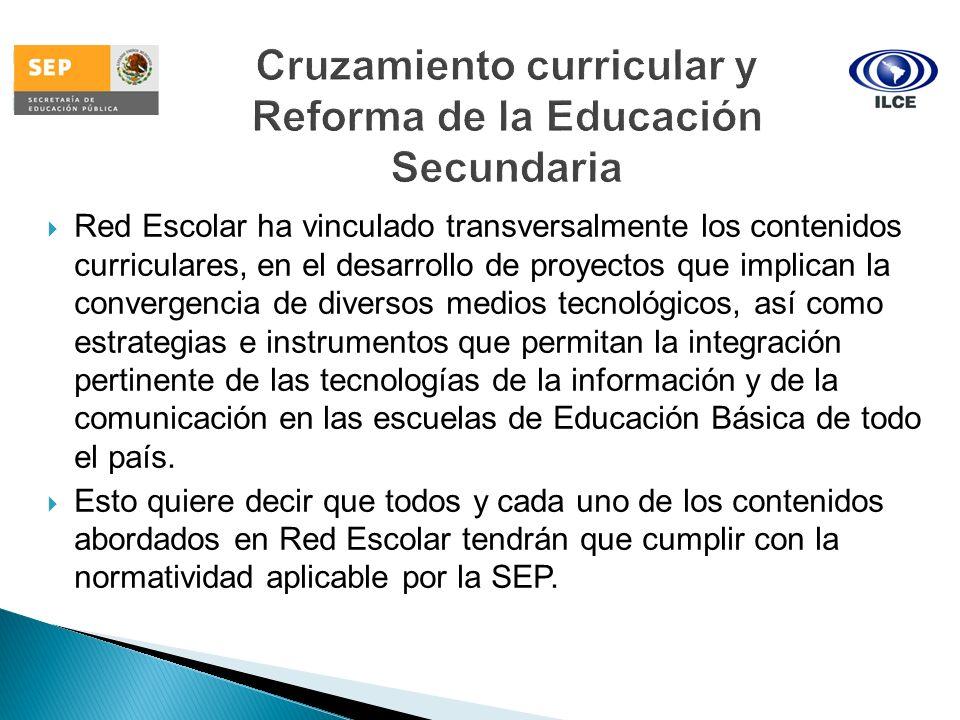 Red Escolar ha vinculado transversalmente los contenidos curriculares, en el desarrollo de proyectos que implican la convergencia de diversos medios t