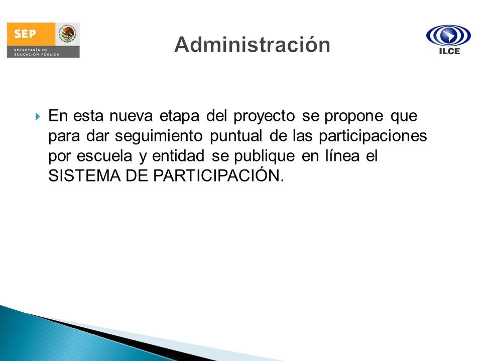En esta nueva etapa del proyecto se propone que para dar seguimiento puntual de las participaciones por escuela y entidad se publique en línea el SIST