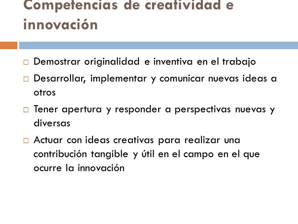Competencias de creatividad e innovación Demostrar originalidad e inventiva en el trabajo Desarrollar, implementar y comunicar nuevas ideas a otros Te