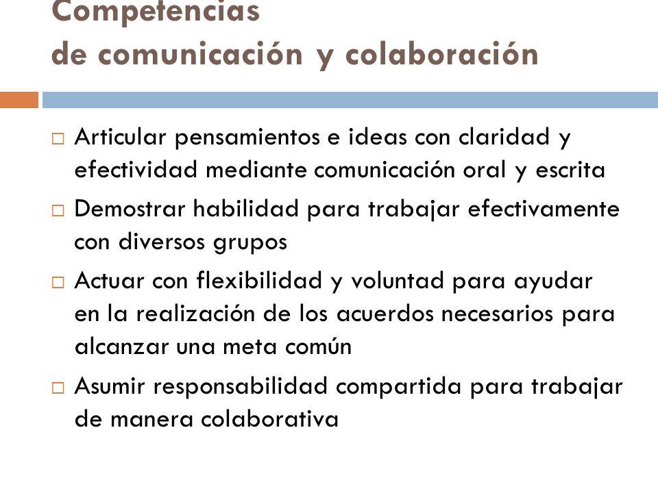 Competencias de comunicación y colaboración Articular pensamientos e ideas con claridad y efectividad mediante comunicación oral y escrita Demostrar h