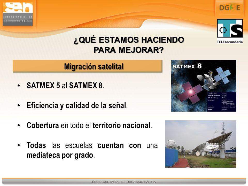 SATMEX 5 al SATMEX 8. Eficiencia y calidad de la señal. Cobertura en todo el territorio nacional. Todas las escuelas cuentan con una mediateca por gra
