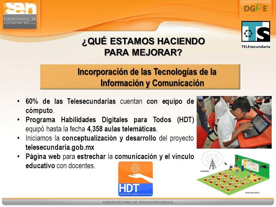 60% de las Telesecundarias cuentan con equipo de cómputo. Programa Habilidades Digitales para Todos (HDT) equipó hasta la fecha 4,358 aulas telemática