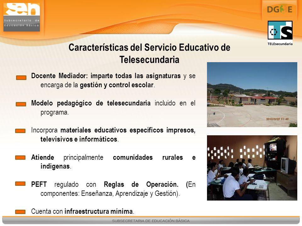 Docente Mediador: imparte todas las asignaturas y se encarga de la gestión y control escolar. Modelo pedagógico de telesecundaria incluido en el progr