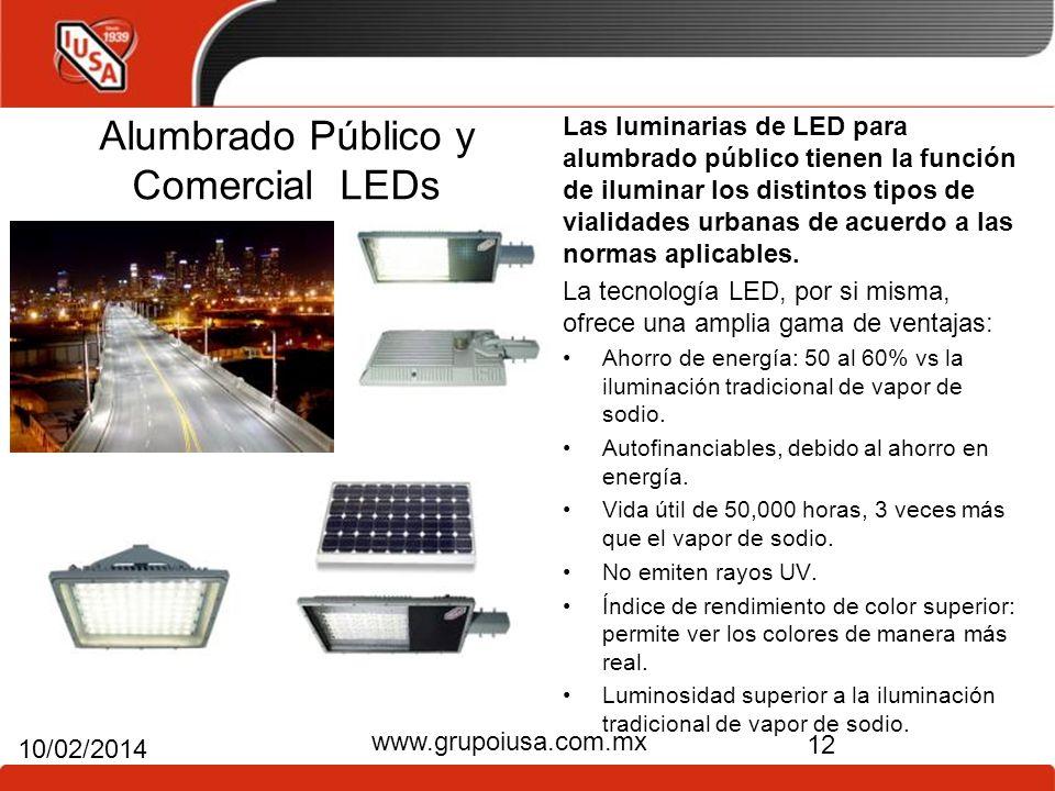 Alumbrado Público y Comercial LEDs Las luminarias de LED para alumbrado público tienen la función de iluminar los distintos tipos de vialidades urbana