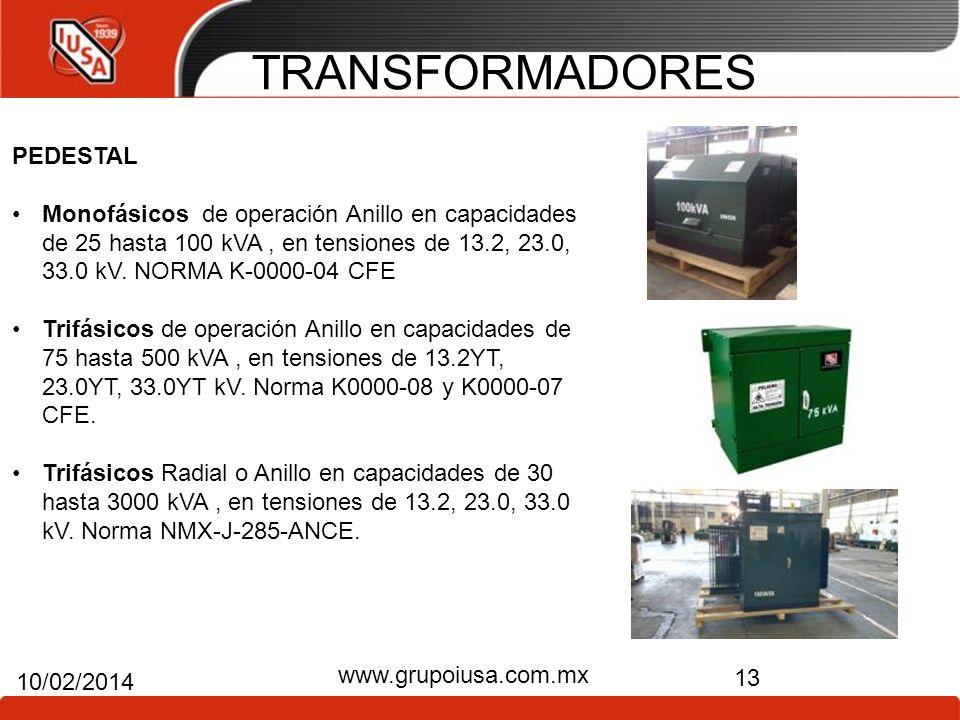 TRANSFORMADORES 13 10/02/2014 www.grupoiusa.com.mx PEDESTAL Monofásicos de operación Anillo en capacidades de 25 hasta 100 kVA, en tensiones de 13.2,