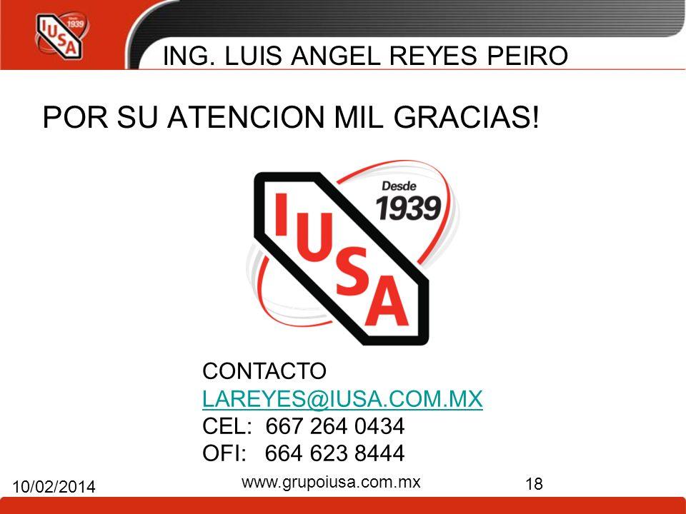 ING. LUIS ANGEL REYES PEIRO POR SU ATENCION MIL GRACIAS! 18 10/02/2014 www.grupoiusa.com.mx CONTACTO LAREYES@IUSA.COM.MX CEL: 667 264 0434 OFI: 664 62