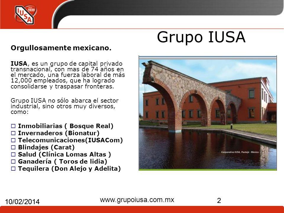 2 10/02/2014 www.grupoiusa.com.mx 2 10/02/2014 Grupo IUSA Orgullosamente mexicano. IUSA, es un grupo de capital privado transnacional, con mas de 74 a