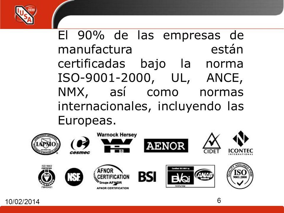 6 10/02/2014 El 90% de las empresas de manufactura están certificadas bajo la norma ISO-9001-2000, UL, ANCE, NMX, así como normas internacionales, inc
