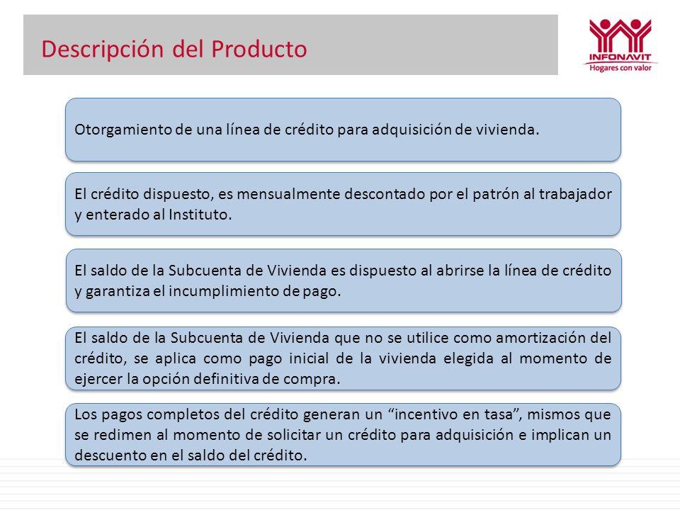 Descripción del Producto Otorgamiento de una línea de crédito para adquisición de vivienda. El crédito dispuesto, es mensualmente descontado por el pa