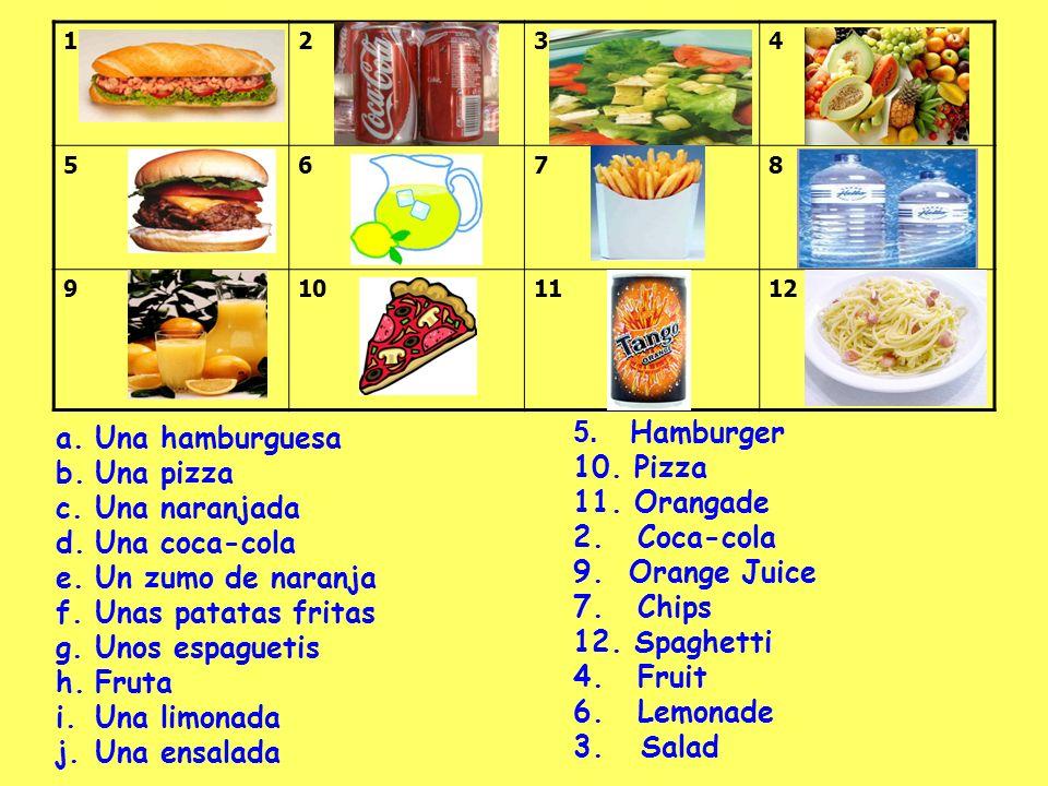 1234 5678 9101112 a.Una hamburguesa b.Una pizza c.Una naranjada d.Una coca-cola e.Un zumo de naranja f.Unas patatas fritas g.Unos espaguetis h.Fruta i.Una limonada j.Una ensalada 5.