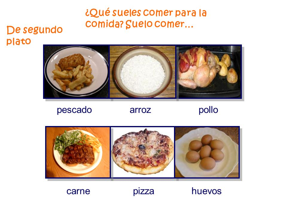 ¿ Qué sueles comer para la comida Suelo comer… una ensalada verdura sopa marisco De primer plato…