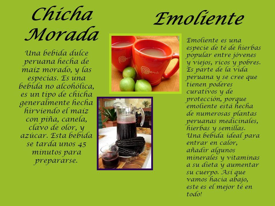 Chicha Morada Una bebida dulce peruana hecha de maíz morado, y las especias. Es una bebida no alcohólica, es un tipo de chicha generalmente hecha hirv