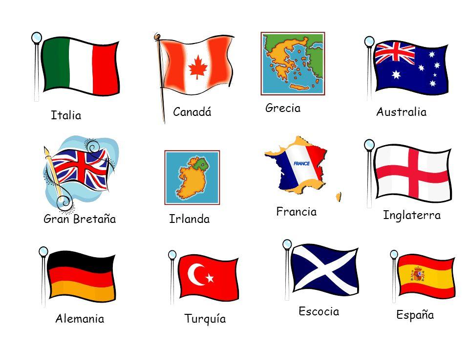 Italia Canadá Grecia Australia Gran BretañaIrlanda Francia Inglaterra AlemaniaTurquía Escocia España
