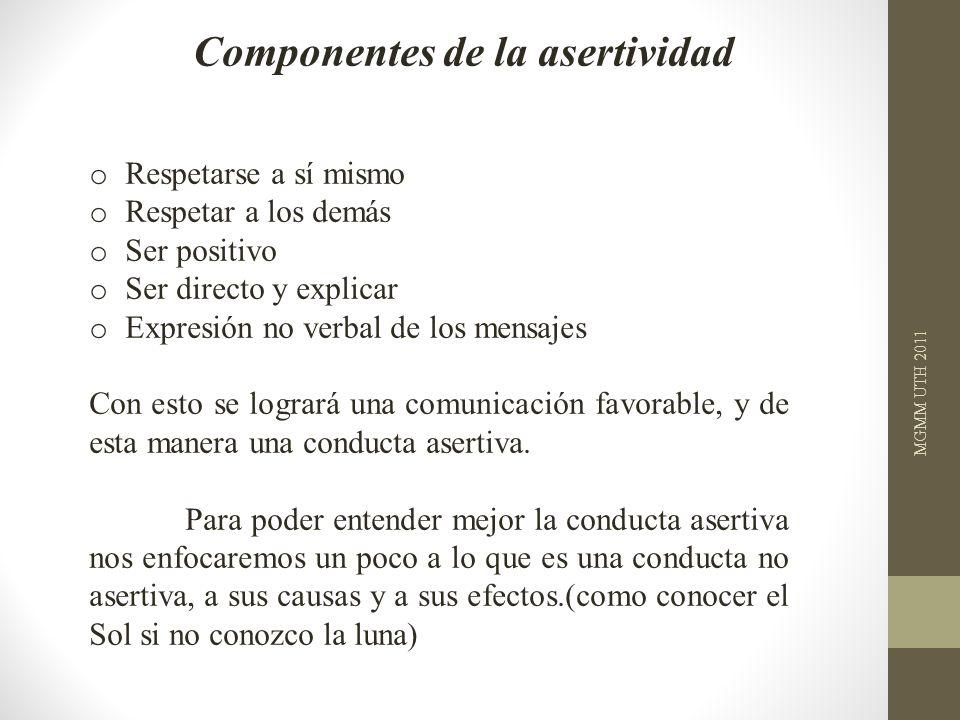 Componentes de la asertividad o Respetarse a sí mismo o Respetar a los demás o Ser positivo o Ser directo y explicar o Expresión no verbal de los mens