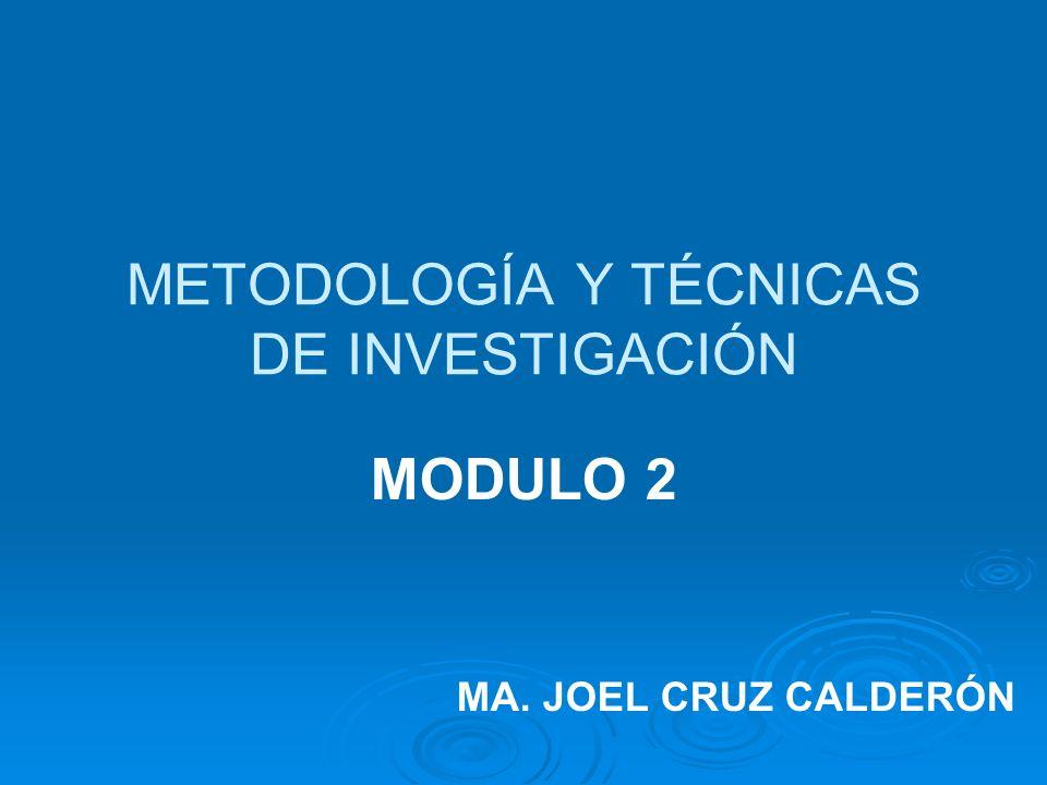 METODOLOGÍA Y TÉCNICAS DE INVESTIGACIÓN MODULO 2 MA. JOEL CRUZ CALDERÓN