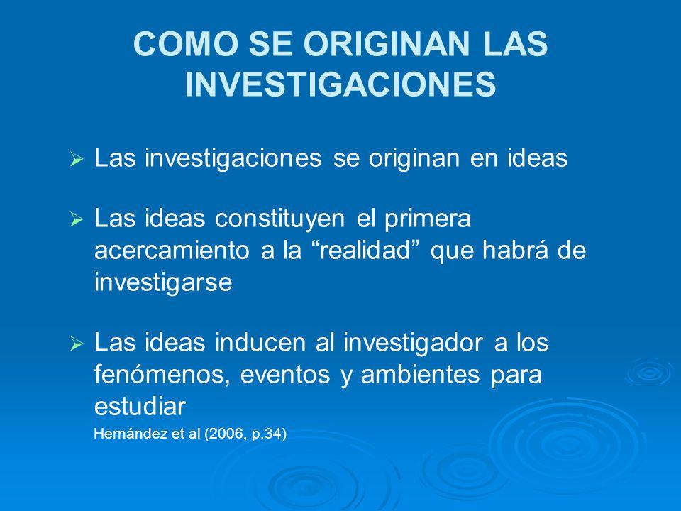 COMO SE ORIGINAN LAS INVESTIGACIONES Las investigaciones se originan en ideas Las ideas constituyen el primera acercamiento a la realidad que habrá de