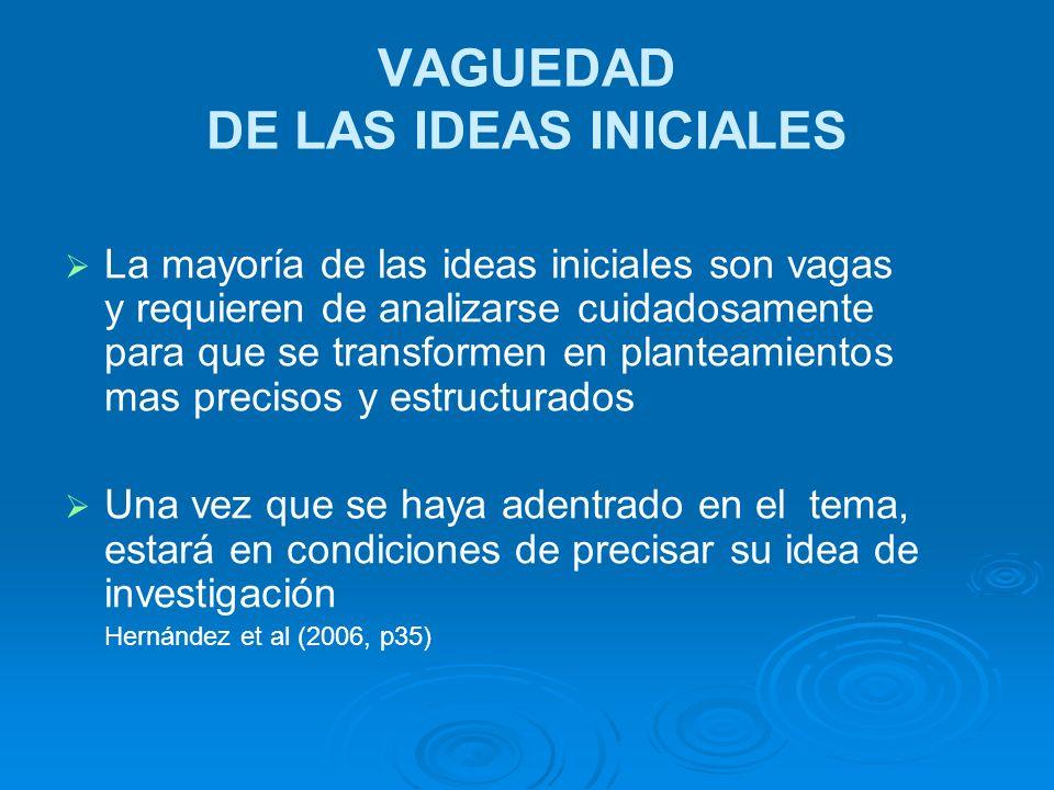 VAGUEDAD DE LAS IDEAS INICIALES La mayoría de las ideas iniciales son vagas y requieren de analizarse cuidadosamente para que se transformen en plante