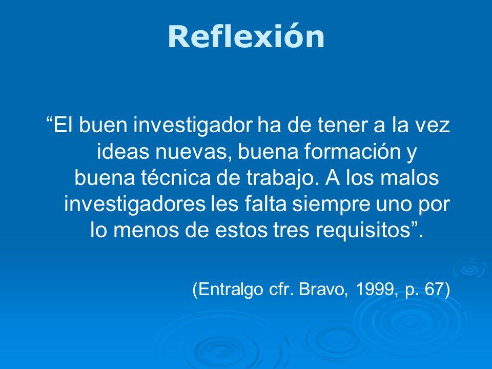 Reflexión El buen investigador ha de tener a la vez ideas nuevas, buena formación y buena técnica de trabajo. A los malos investigadores les falta sie