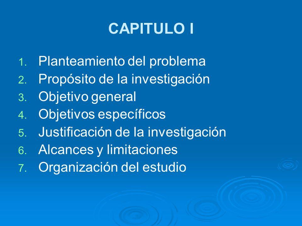 CAPITULO I 1. 1. Planteamiento del problema 2. 2. Propósito de la investigación 3. 3. Objetivo general 4. 4. Objetivos específicos 5. 5. Justificación