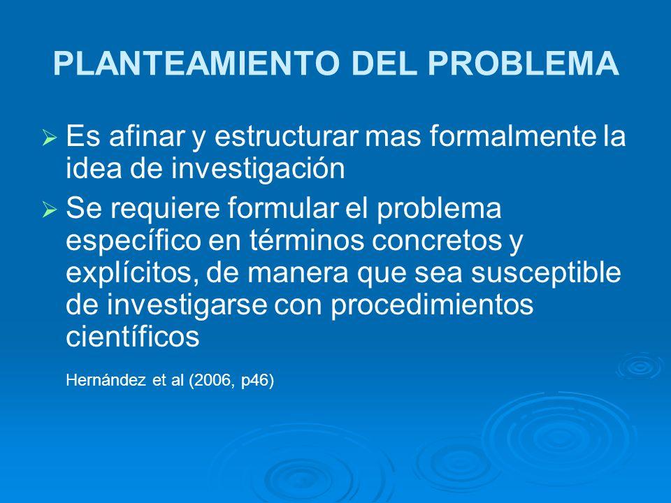 PLANTEAMIENTO DEL PROBLEMA Es afinar y estructurar mas formalmente la idea de investigación Se requiere formular el problema específico en términos co