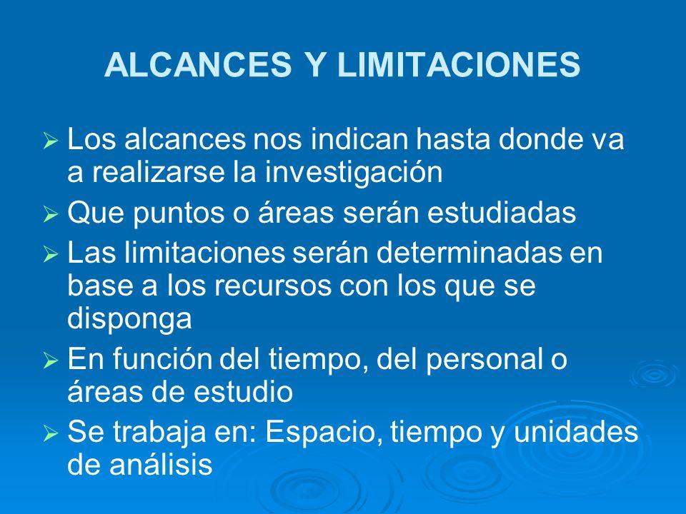 ALCANCES Y LIMITACIONES Los alcances nos indican hasta donde va a realizarse la investigación Que puntos o áreas serán estudiadas Las limitaciones ser