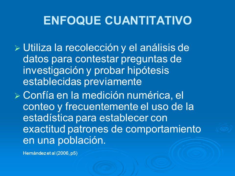 Utiliza la recolección y el análisis de datos para contestar preguntas de investigación y probar hipótesis establecidas previamente Confía en la medic