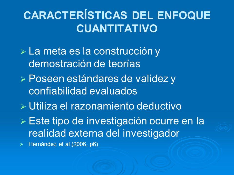 CARACTERÍSTICAS DEL ENFOQUE CUANTITATIVO La meta es la construcción y demostración de teorías Poseen estándares de validez y confiabilidad evaluados U