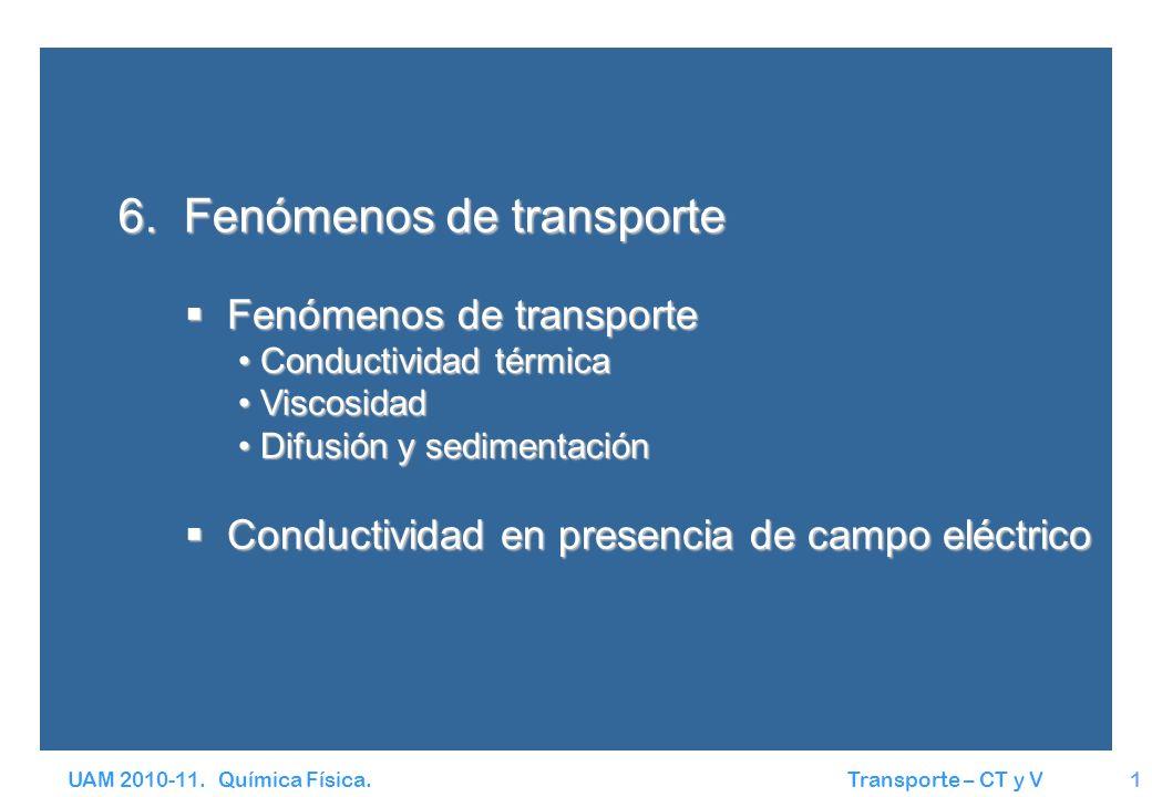 UAM 2010-11. Química Física. Transporte – CT y V1 Fenómenos de transporte Fenómenos de transporte Conductividad térmica Conductividad térmica Viscosid