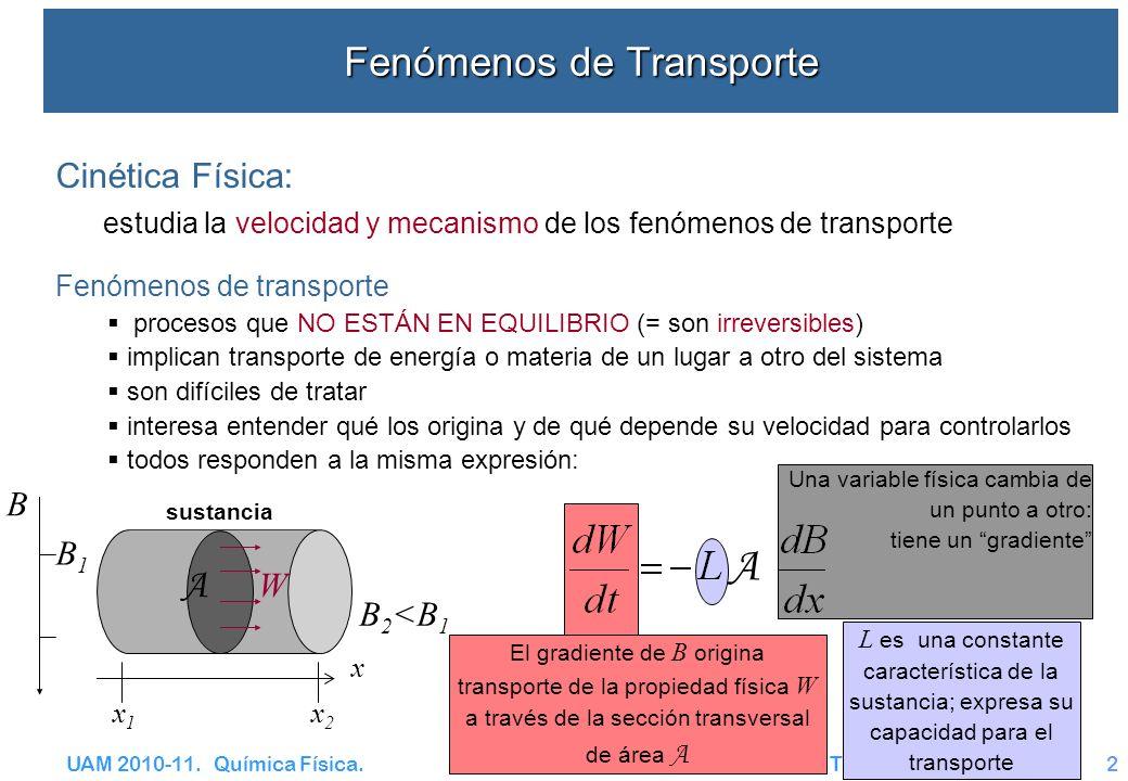 UAM 2010-11. Química Física. Transporte – CT y V2 B 2 <B 1 Fenómenos de Transporte B1B1 Cinética Física: estudia la velocidad y mecanismo de los fenóm