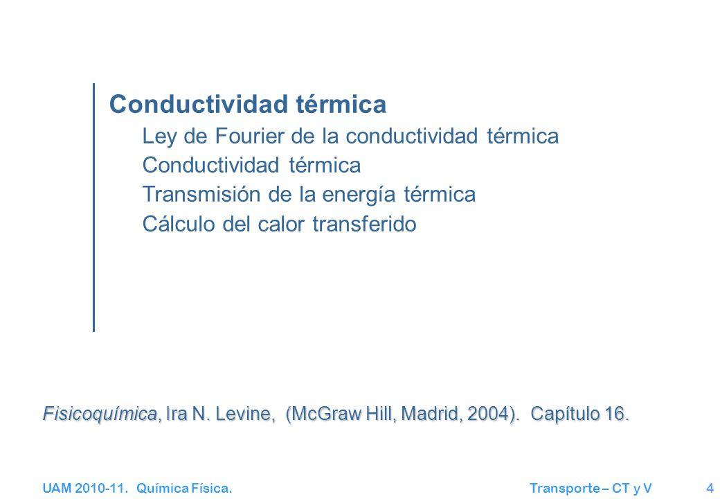 UAM 2010-11. Química Física. Transporte – CT y V4 Conductividad térmica Ley de Fourier de la conductividad térmica Conductividad térmica Transmisión d