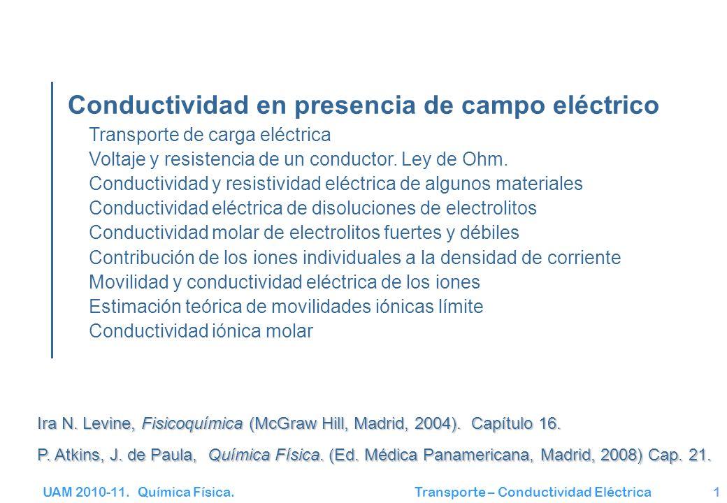 UAM 2010-11. Química Física. Transporte – Conductividad Eléctrica1 Conductividad en presencia de campo eléctrico Transporte de carga eléctrica Voltaje