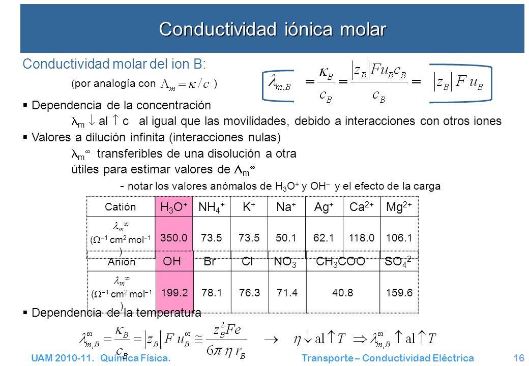 UAM 2010-11. Química Física. Transporte – Conductividad Eléctrica16 Conductividad iónica molar Conductividad molar del ion B: (por analogía con ) Depe