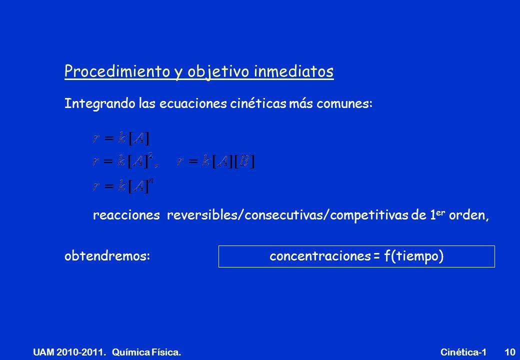 UAM 2010-2011. Química Física. Cinética-110 Procedimiento y objetivo inmediatos reacciones reversibles/consecutivas/competitivas de 1 er orden, concen