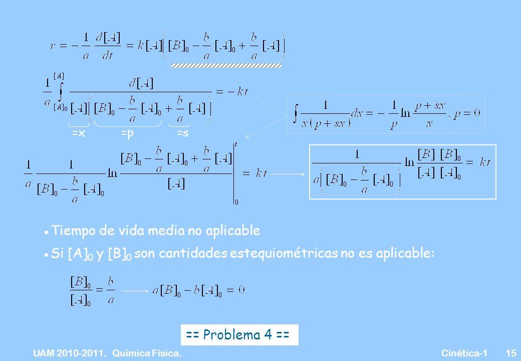 UAM 2010-2011. Química Física. Cinética-115 =x =p =s Tiempo de vida media no aplicable Si [A] 0 y [B] 0 son cantidades estequiométricas no es aplicabl