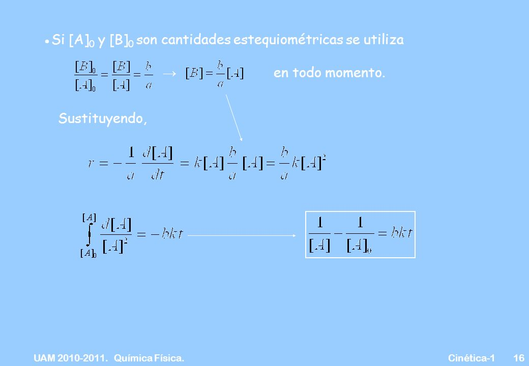 UAM 2010-2011. Química Física. Cinética-116 Si [A] 0 y [B] 0 son cantidades estequiométricas se utiliza en todo momento. Sustituyendo,
