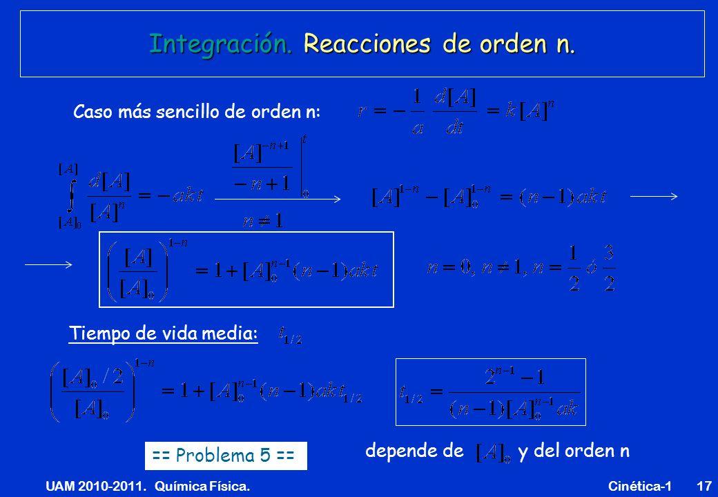 UAM 2010-2011. Química Física. Cinética-117 Integración. Reacciones de orden n. Caso más sencillo de orden n: Tiempo de vida media: depende de y del o